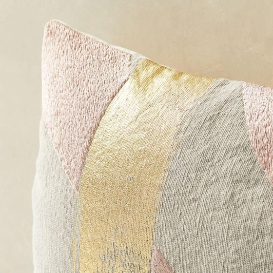 West Elm Embroidered Metallic Ribbon Cushion Cover Misty Rose