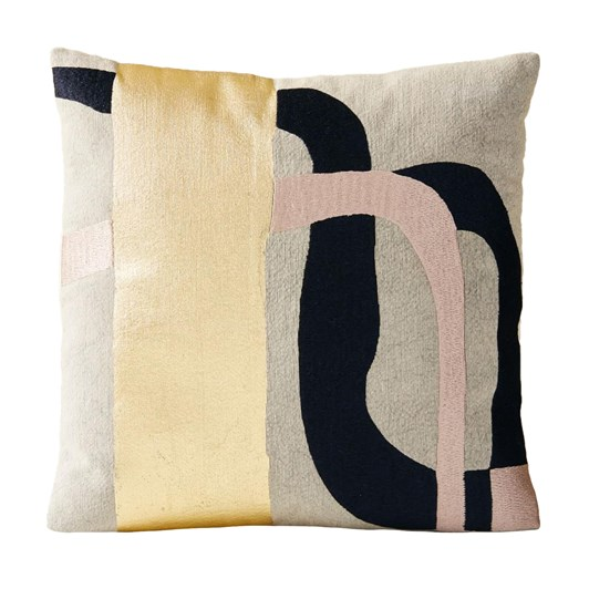 West Elm Embroidered Metallic Curves Cushion Cover Midnight