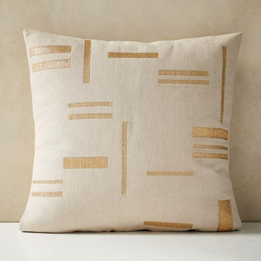 West Elm Embroidered Metallic Blocks Cushion Cover Belgian Flax