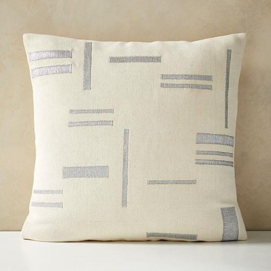 West Elm Embroidered Metallic Blocks Cushion Cover Stone White