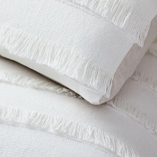 West Elm Fringe Cushion Cover White