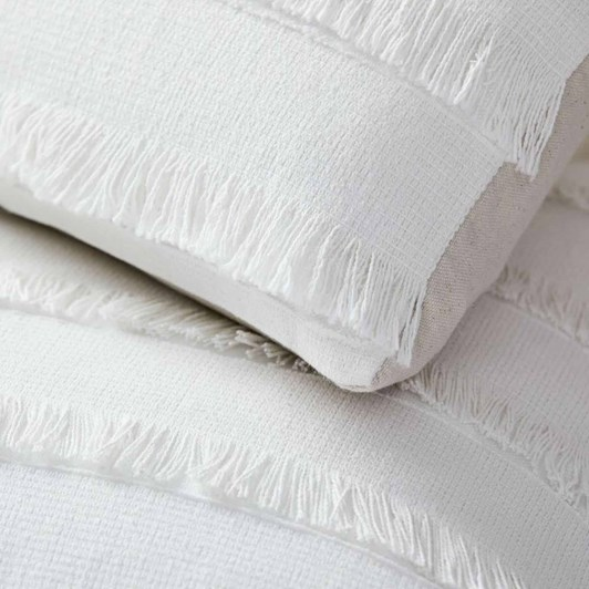 West Elm Fringe Cushion Cover White