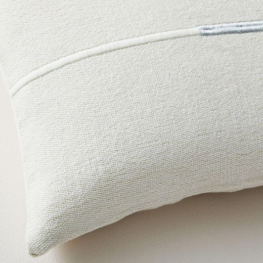 West Elm Accented Cotton Canvas Lumbar Cushion Cover Stone White