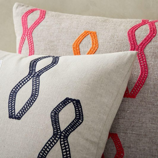 West Elm Embroidered Diamond Stripe Cushion Cover Midnight