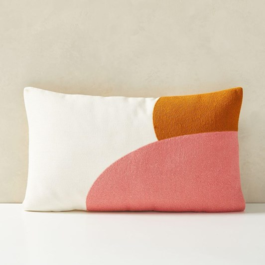 West Elm Corded Color Shapes Cushion Cover Coral Dream