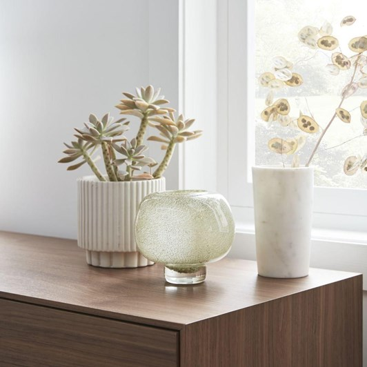 West Elm Fluted Small White Planter