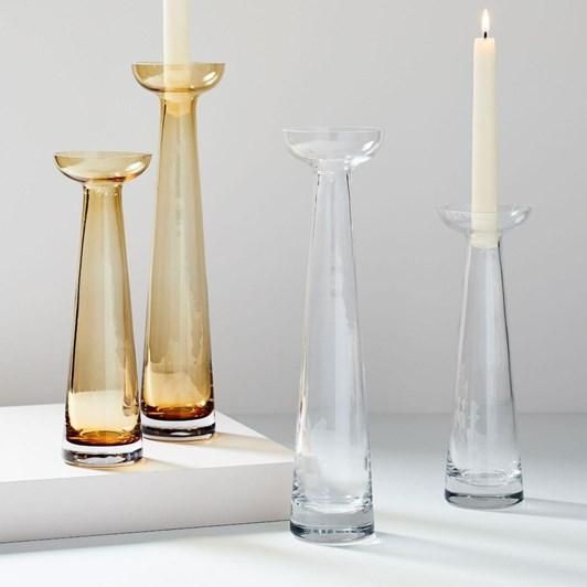 "West Elm Pure Glass Candleholders 12"""
