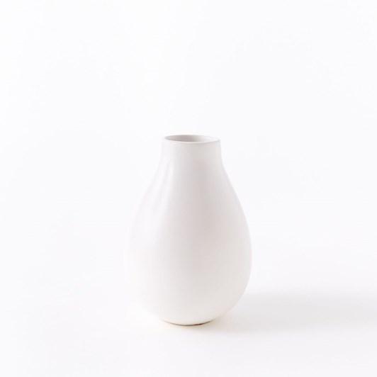 West Elm Pure White Ceramic Small Raindrop Vase
