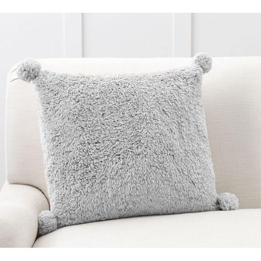 Pottery Barn Cozy Pom Pom Pillow Gray