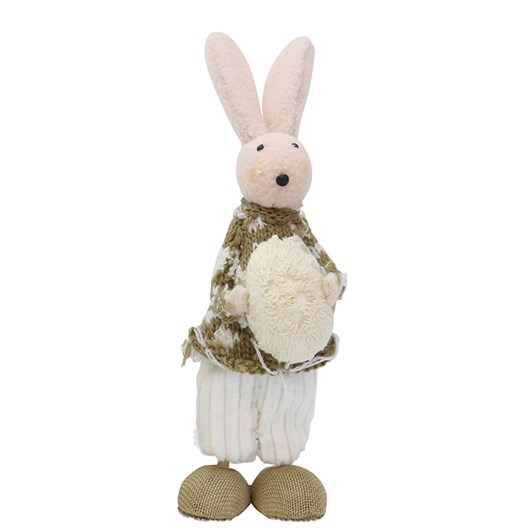 Standing White Easter Bunnie With Egg