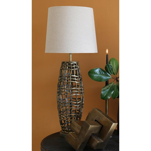 CC Interiors Metal Weave Old Brass Lamp With Oatmeal Shade 56cm