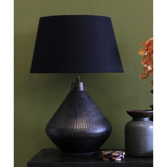 CC Interiors Tapered Pyramid Dark Antique Brass Lamp With Black Drum Shade