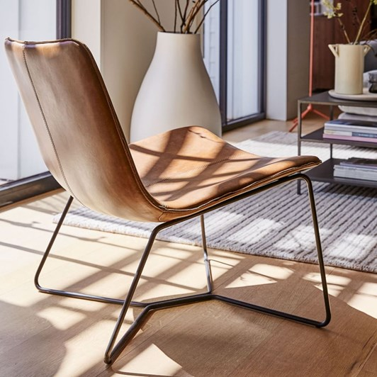 West Elm Slope Lounge Chair Saddle