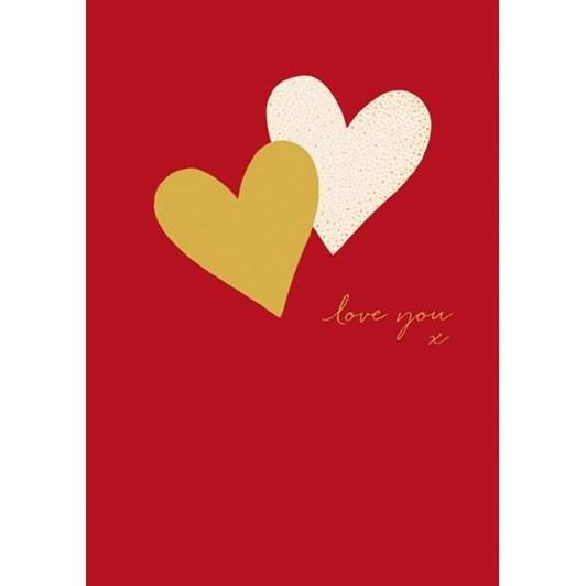 Valentine's Sara Miller Hearts Gold White Card