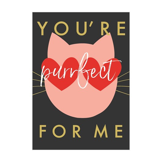 Valentine's Happy Heart You're Purrfect Card