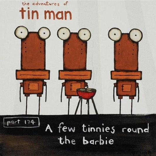 Tony Cribb A Few Tinnies Round The Barbie Notecard