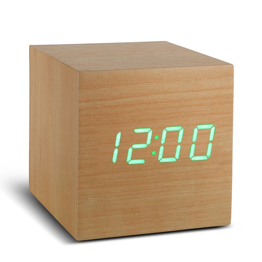 Gingko Cube Beech Click Clock Green Led Beech