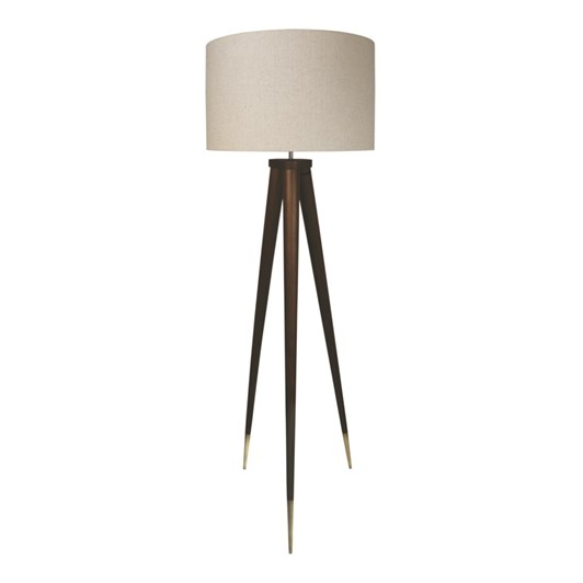 Madras Link Vienna Walnut Floor Lamp With Linen Shade D55.5xH149cm