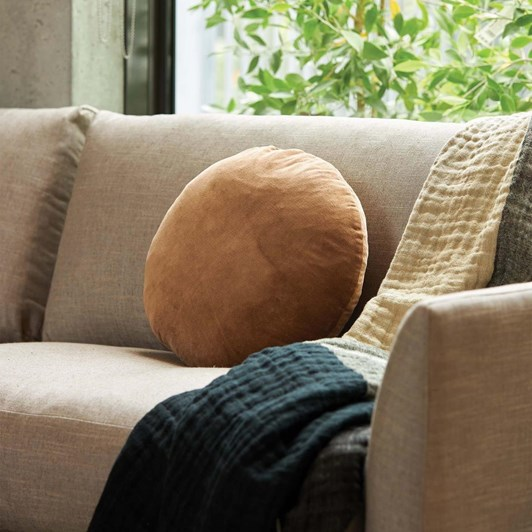 Citta Cotton Velvet Round Cushion Cover Toast 45Cmdia