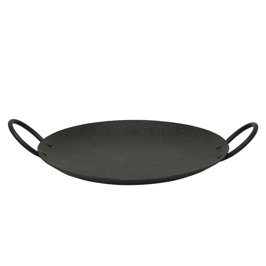 Round Serving Tray With Dot And Handles Black