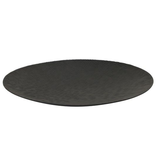 Round Flat Plate With Diamonds Extra Large Black