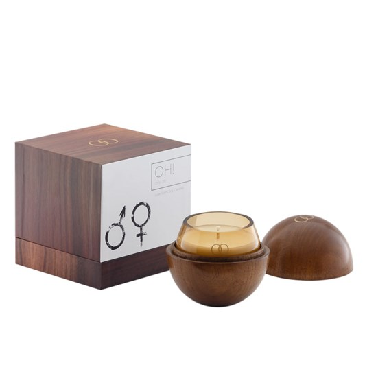 Only Orb Oh Smoke Glass Candle In Teak Vessel