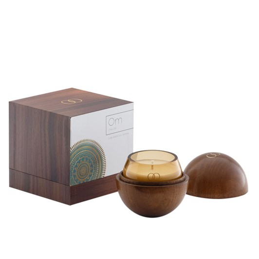 Only Orb Om Smoke Glass Candle In Teak Vessel