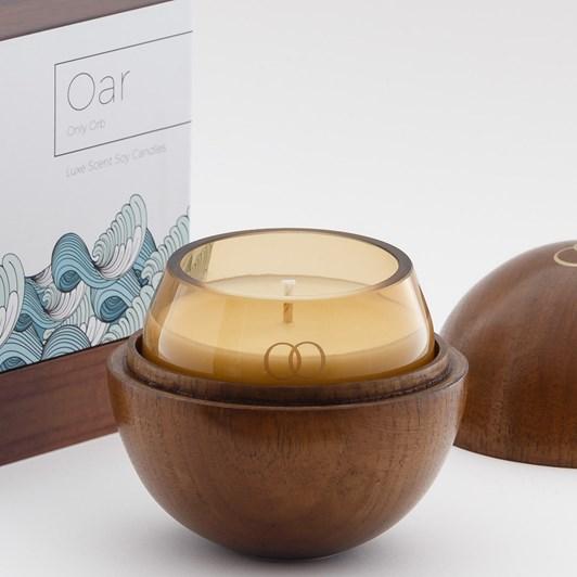 Only Orb Oar Smoke Glass Candle In Teak Vessel