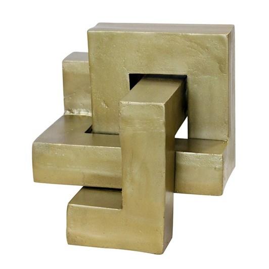 CC Interiors Interlocking Sculpture In Antique Brass Finish 260x260x260