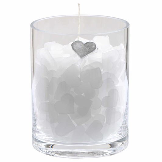 Schlittler Hurricane Glass 'Smiling Heart' Candle Holder Filled With Paraff
