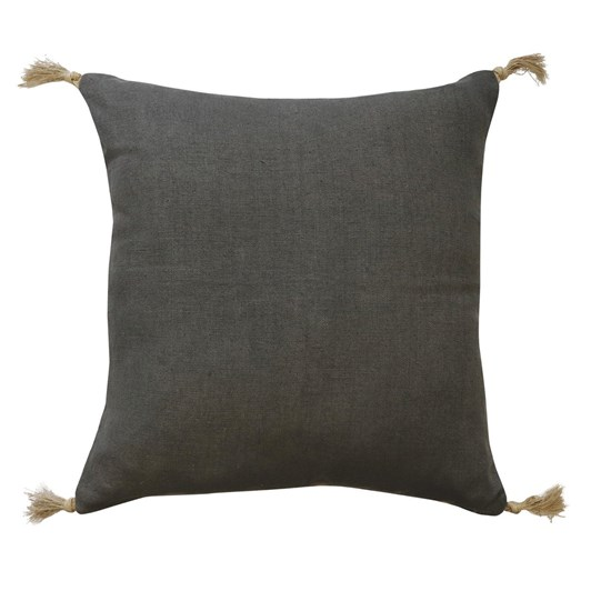 Madras Link Goa Charcoal Linen Tassel Cushion 55cm