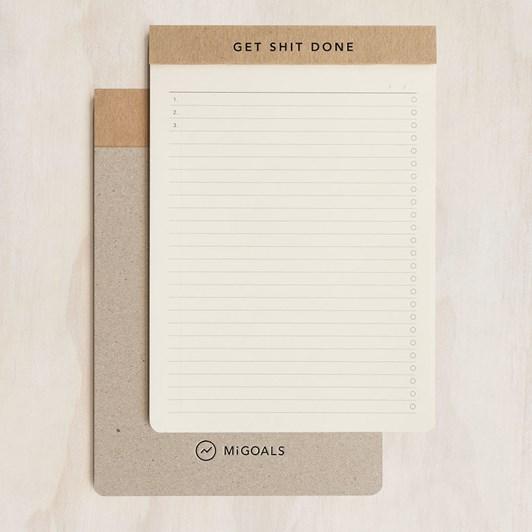 MiGoals Get Shit Done Notepad A5 SC Manifesto Kraft & Black Foil