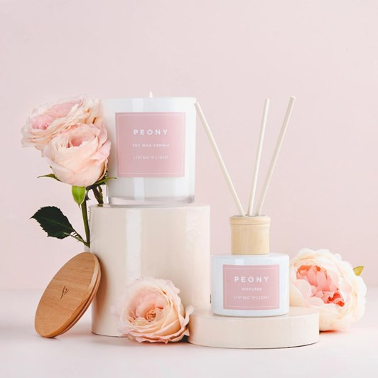 Living Light Peony Soy Candle Large (60 Hours)