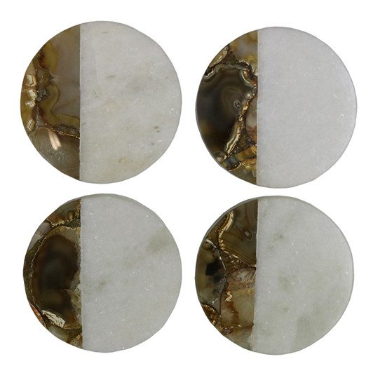 Marble Agate Round Coaster Set Of 4
