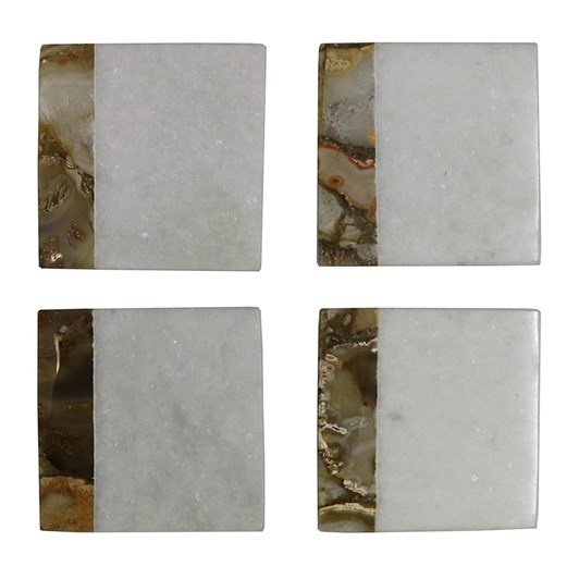 Marble Agate Square Coasters Set Of 4