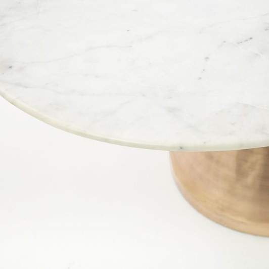 West Elm Silhouette Pedestal Round Dining Table 112cm White Marble