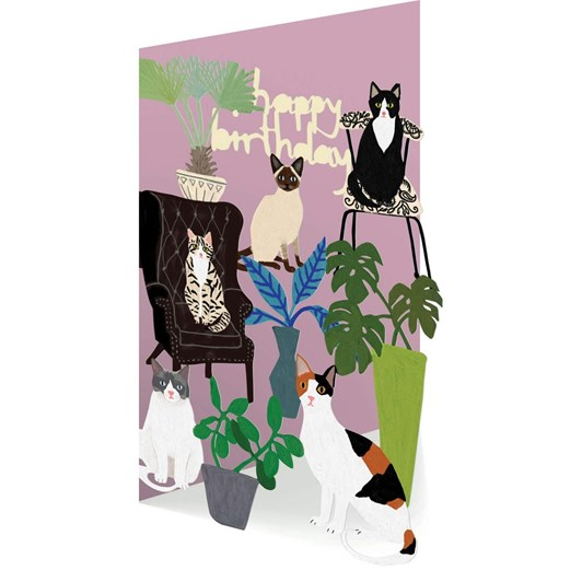 Roger La Borde Happy Birthday Cats Lasercut Card
