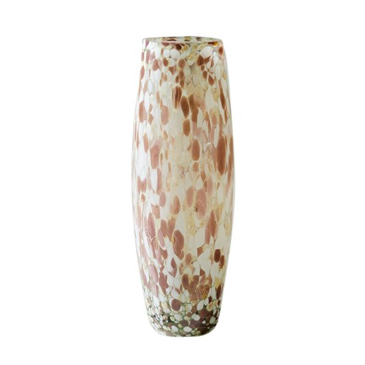 West Elm Speckled Mexican Glass Vase Tall Blush