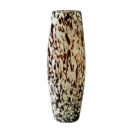 West Elm Speckled Mexican Glass Vase Tall Grey