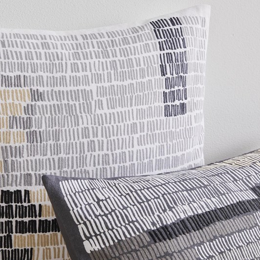 West Elm Linear Field Cushion Cover 18X18 Inch Stone White