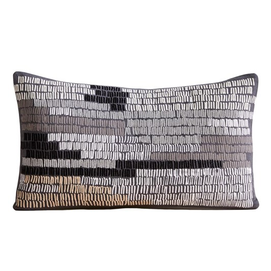 West Elm Linear Field Cushion Cover 12X21 Inch Iron Gate