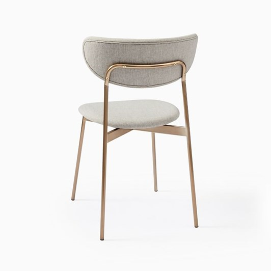 West Elm Modern Petal Upholstered Dining Chair Heathered Crosshatch