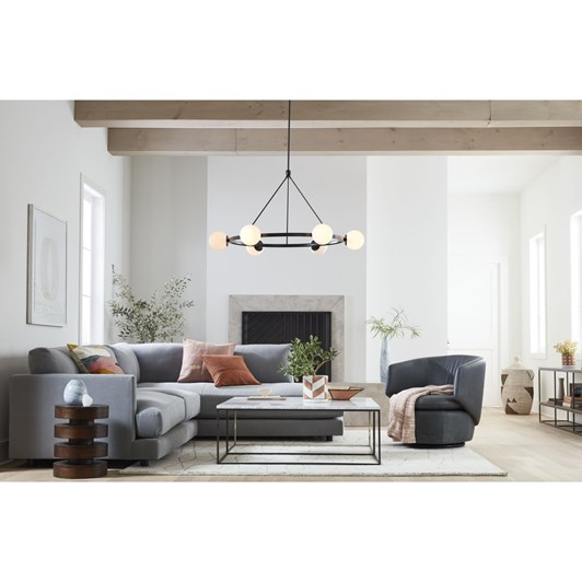 West Elm Pure Chandelier 6 Light Round Dark Bronze