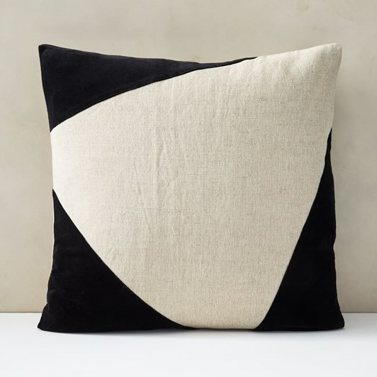 West Elm Cotton Linen Velvet Corners Cushion Cover 24X24 Inch Black