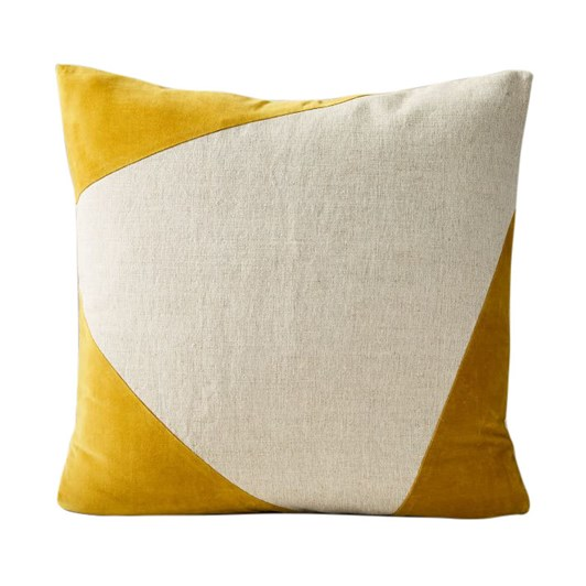 West Elm Cotton Linen Velvet Corners Cushion Cover 24X24Inch Dk Horseradish