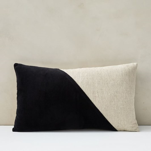 West Elm Cotton Linen Velvet Lumbar Cushion Cover 12X21 Inch Black