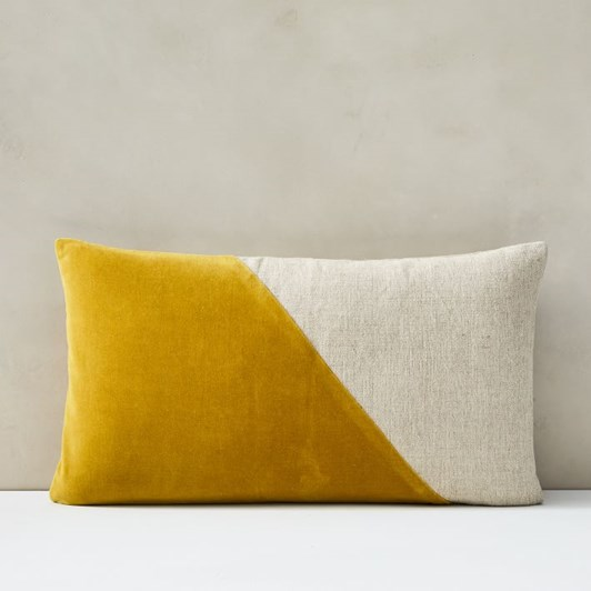 West Elm Cotton Linen Velvet Lumbar Cushion Cover 12X21 Inch Dk Horseradish