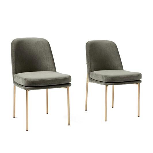 West Elm Jack Metal Frame Dining Chair (Set Of 2) Beetle Green Light Bronze