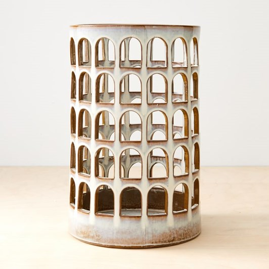 West Elm Ceramic Cutout Lantern White On Terracotta Stoneware 15 Inch
