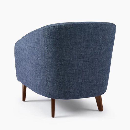 West Elm Jonah Chair Yarn Dyed Linen Weave French Blue Pecan